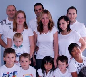 From left to right Back rows, Pierre (son) & Mirjam, Sebastien & Naomi (daughter), Max (son) & Nathalie. Front row, Adrian, Nathan, Louis Charbonneau, Sophia Guignard, Eli Charbonneau & Mathis Guigna